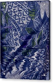 Designs With Blues Acrylic Print by Anne-Elizabeth Whiteway