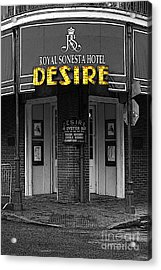 Desire Corner Bourbon Street French Quarter New Orleans Black And White Fresco Digital Art  Acrylic Print