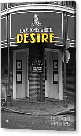Desire Corner Bourbon Street French Quarter New Orleans Color Splash Black And White Digital Art  Acrylic Print by Shawn O'Brien