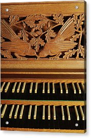 Detail Of A Pipe Organ With A Wooden Carving Acrylic Print by Gregor Hohenberg