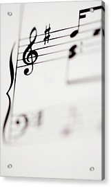 Detail Of Sheet Music Acrylic Print by Junior Gonzalez