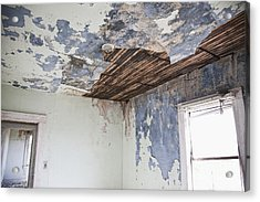Deteriorating Ceiling In An Abandoned House Acrylic Print by Jetta Productions, Inc