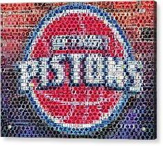Detroit Pistons Mosaic Acrylic Print by Paul Van Scott