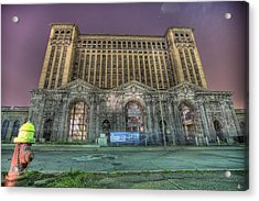 Detroit's Michigan Central Station - Michigan Central Depot Acrylic Print by Nicholas  Grunas