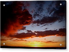 Developing Storm At Sunset Acrylic Print by Aaron Burrows