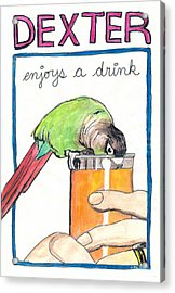 Acrylic Print featuring the drawing Dexter Enjoys A Drink by Ana Tirolese