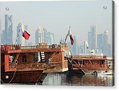 Dhows And Doha Skyline Acrylic Print by Paul Cowan