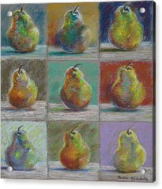 Acrylic Print featuring the pastel  Pears by Bonnie Goedecke
