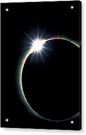 Diamond Ring Effect During Solar Eclipse Acrylic Print by David Nunuk