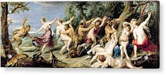 Diana And Her Nymphs Surprised By Fauns Acrylic Print