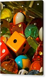 Dice And Marbles Acrylic Print by Michael Cinnamond