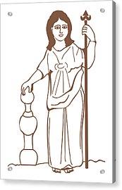 Digital Illustration Of Ancient Gaulish Goddess Of Nature Nantosuelta Acrylic Print
