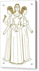 Digital Illustration Of Celtic Triple Goddess Brigit Holding Snakes Rising From Flames Acrylic Print