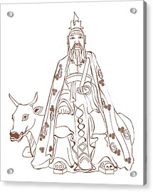 Digital Illustration Of Chinese Philosopher Confucius Sitting On Cow Acrylic Print