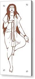 Digital Illustration Of Hindu Goddess Parvati Standing On One Leg And Holding Prayer Beads Acrylic Print