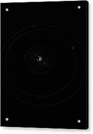 Digital Illustration Of Saturn And Its Moons Acrylic Print by Jason Reed