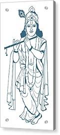 Digital Illustration Of Vishnu Playing Flute Acrylic Print
