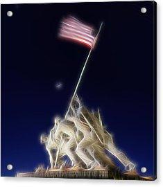 Acrylic Print featuring the photograph Digital Lightening - Iwo Jima Memorial by Metro DC Photography