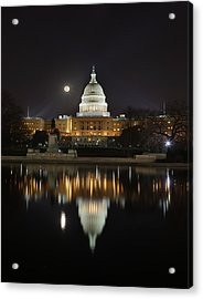 Digital Liquid - Full Moon At The Us Capitol Acrylic Print by Metro DC Photography