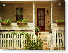 Digital Painting Of Front Porch Rural Farmhouse Acrylic Print by Sandra Cunningham