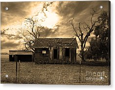 Dilapidated Old Farm House . 7d10341 . Sepia Acrylic Print by Wingsdomain Art and Photography