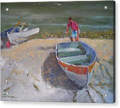 Dinghy Launch Acrylic Print by Ron Wilson
