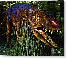 Dinosaur In Reeds Acrylic Print by Jerry L Barrett
