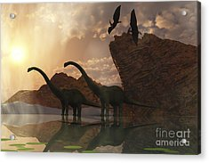 Diplodocus Dinosaurs And Pterodactyl Acrylic Print by Corey Ford