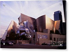 Disney Hall Western View Acrylic Print by Ron Javorsky