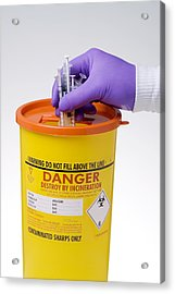 Disposal Of Contaminated Sharps Acrylic Print by Paul Rapson
