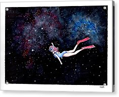 Diving Through Nebulae Acrylic Print by Katchakul Kaewkate