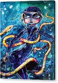 Acrylic Print featuring the painting Diving With Serpent by Leanne Wilkes