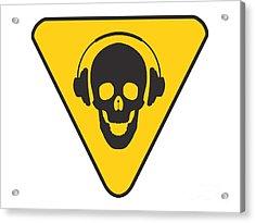Dj Skull On Hazard Triangle Acrylic Print by Pixel Chimp
