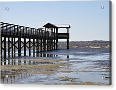 Dock At Low Tide Acrylic Print by Tiffney Heaning