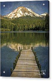 Dock On Mountain Lake Acrylic Print by Jill Battaglia