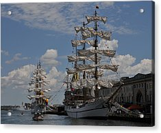 Docked At Fish Pier Acrylic Print by Mike Martin