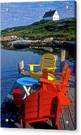 Dockside At Peggys Cove Acrylic Print by Dave Mills