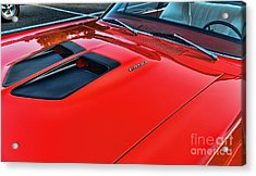 Dodge Super Bee Hood  In Red Acrylic Print by Paul Ward
