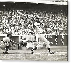 Dodger Willie Davis Batting At Dodger Stadium  Acrylic Print