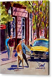 Dog Crossing Acrylic Print by Ron Stephens