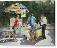 Acrylic Print featuring the painting Dogs In The Park by Roxanne Tobaison