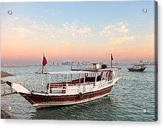 Doha Bay Qatar Sunset Acrylic Print by Paul Cowan