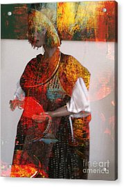 Doll In Paint Acrylic Print by Fania Simon
