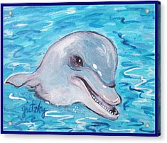 Dolphin 2 Acrylic Print by Paintings by Gretzky