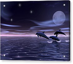 Acrylic Print featuring the digital art Dolphin Moon. by Walter Colvin
