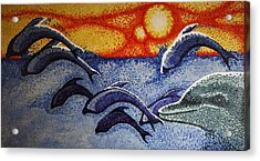 Acrylic Print featuring the painting Dolphins In The Sun by Paul Amaranto