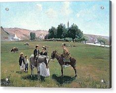 Donkey Ride Acrylic Print by Camille Pissarro