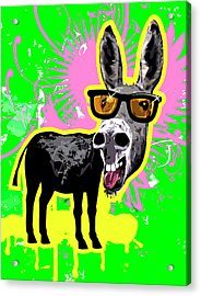 Donkey Wearing Sunglasses, Laughing Acrylic Print by New Vision Technologies Inc