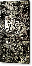 Doodles Black And White Acrylic Print by MikAn 'sArt