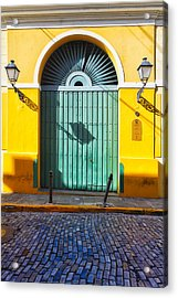 Door And Cobblestone Street In Old San Juan Acrylic Print by George Oze